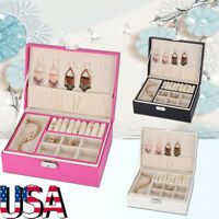 PU Leather Jewelry Storage Box Organizer Case Ring Earring Necklace Display USA