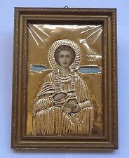 Saint Panteleimon Vintage Greek Orthodox Riza Oklad Icon Wooden Frame + Glass