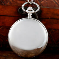 Silver Smooth Mechanical Pocket Watch Skeleton Pendant Windup Gift Chain Gift UK