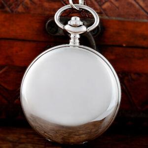 Silver Smooth Mechanical Pocket Watch Skeleton Pendant Windup Gift Chain Gift UK