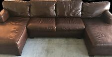 Bloomingdales Brown Genuine Leather Sectional Sofa - Double Chaise. Made in USA