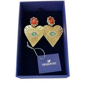Swarovski Crystal Lucky Goddess Heart Clip On Earrings Gold Tone