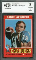 1971 topps #10 LANCE ALWORTH san diego chargers BGS BCCG 8