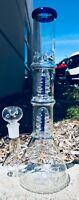 Hookah Water Pipe Glass 12 inch Blue & Green Bong Double Perk w/ Ice Catcher