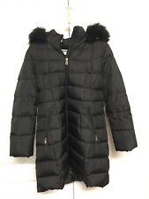 Calvin Klein Womens Black Down Faux Fur Trim Hooded Jacket XLarge