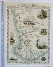 Antique vintage map 1800s: West Australia: John Tallis 13 X 9 Reprint 1851c