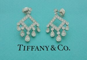 Tiffany & Co. Legacy Open Square Drop Diamond Platinum Earrings with Receipt*