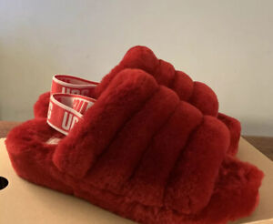 UGG FLUFF YEAH SLIDE RIBBON RED 1095119 SLINGBACK SHOES SLIPPERS SIZE 8, WOMENS