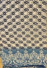 "Faux Silk CHIFFON Fabric BLUE DAMASK BORDER PRINT 54"" by the yard"