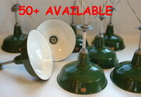 "(1) Silva-King 14"" Porcelain Green Barn Industrial Warehouse Light Enamel Vtg A"