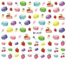 Nail Art Stickers Water Decals Transfers Cakes Macaroons Strawberries (M+449)