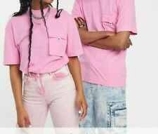 Collusion Unisex Pink Acid Wash T-Shirt with Pocket - Size: Medium (10-12)