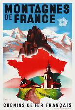 Affiche chemin de fer Français - Montagnes de France