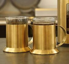 2 x La Cafetiere BRUSHED GOLD GLASS CUPS Tea COFFEE MUGS & Holders