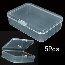 5Pcs Small Plastic Clear Transparent Container Case Storage Box Organizer Tool