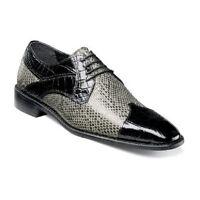 Stacy Adams Rivello Leather Sole Men shoes Gray Black Cap Toe Lace up 25048-975