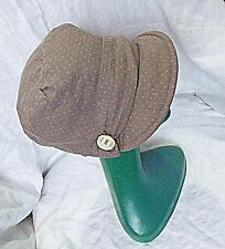 20S STYLE CLOCHE TYPE WITH CAP BRIM ACCESSORIZE* MOCHA POLKA DOT BUTTON HAT CHIC