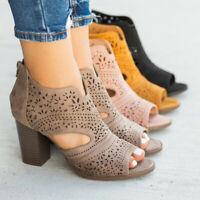 Women's Casual Shoes Boots Chic Laser-Cut Sandal Heels Zipper Fish Mouth Sandals
