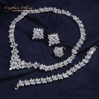 4 Tlg. Zirkonia AAA+ Schmuckset Halskette Ohrringe Armband Ring Silber Weiss