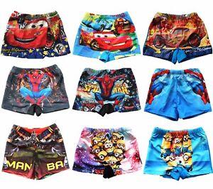 Boys Kids Swimming Trunks Shorts Swimwear Beach Cars Spider-Man Minions Batman