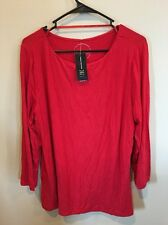 INC International Concepts 2XL 3/4 Sleeve Solid Red Rayon, Spandex Blouse