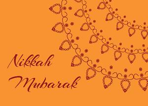Nikkah Mubarak Card (Orange) wedding greeting car