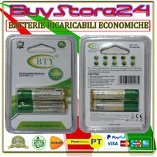 4 BATTERIE BTY PILE STILO RICARICABILI AA 3000 MAH 1,2V NI-MH/2B RECHARGEABLE