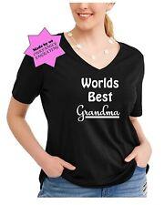 Womans plus size worlds best Grandma tee graphic tshirt cute top vneck