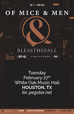 "Of Mice & Men / Blessthefall ""Defy Tour 2018"" Houston Concert Poster-Heavy Metal"