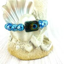 Peacock Feather Bracelet Blue Tie Die Frost Glass Boho Adjustable