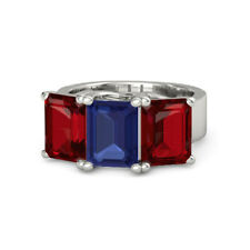 Natural Sapphire Ring 3.00 Ct Red Ruby Gemstone Ring 950 Platinum Rings Size 6