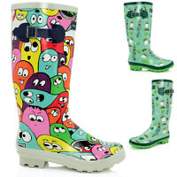 WOMENS LADIES FLAT FESTIVAL WELLIES WELLINGTON KNEE HIGH RAIN BOOTS SIZE 3-8