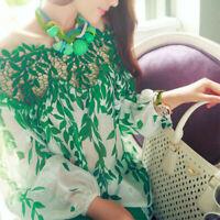 US Ladies Women Green Leaf Hollow Lace Crochet Chiffon Top Long Sleeve Blouses