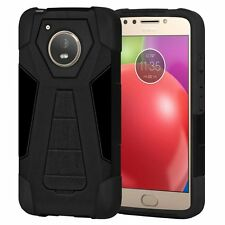 AMZER Black Dual Layer Hybrid ShockProof Protective Cover Case For Moto E4 2017