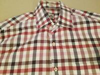 Mens Peter Millar Dress Shirt L Large Red Button Cotton