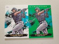 Starling Marte (2) Lot 2021 Topps Inception Green Parallel + Base Card #26 Miami