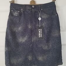 VERSACE JEANS COUTURE gonna denim scuro con brillantini taglia 42 con etichette