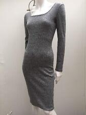 Bardot sz 10 Grey Ribbed Stretch Knit Long Sleeve Dress AS NEW