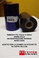 RIBBON NASTRI CARBONGRAFICI 110X300 IN WAX CERA PREMIUM INTERMEC ZEBRA TSC