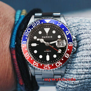 40mm PARNIS black dial GMT automatic mens watch Sapphire glass luminous marks