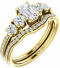 1.53 carat 5 stone Emerald & Round Cut Diamond Engagement Ring 14k Yellow Gold