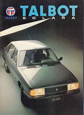 AUTOFOLDER / BROCHURE TALBOT SOLARA 1989