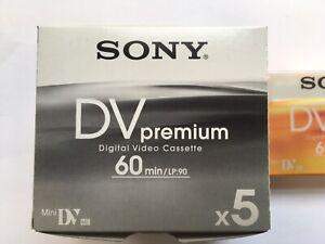 Sony DVpremium Digital Video Cassette 5 Pack Sealed Unopened 60minutes