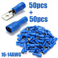 100pcs Blue Insulated Spade Crimp Wire Cable Connector Terminal  Male/Female Kit