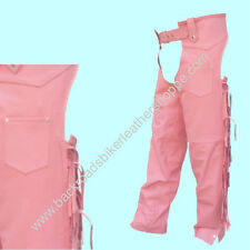 Ladies Women's Pink Leather Motorcycle Biker Chaps with Fringe SIZES 2XS-3XL