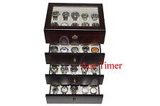 40 Watch (Premium Series) Glass Top Ebony Display Storage Case Box + Cloth