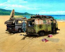 VW Vans Art Print ~ Volkswagen Vanagon beach scene with surfboards
