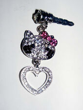 hello kitty Heart phone charm plug anti-dust 3.5mm iphone 4 4s 5G MP3 player