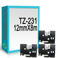 3 Compatible For Brother TZ231/TZe231 P-Touch 12mmx8m Black On White Label Tape