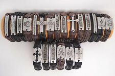 Wholesae Lots Handmade 21pcs Mixed Styles Braid Hemp Genuine Leather Bracelets